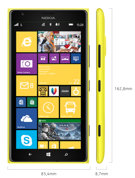 Nokia 1520 - Abmessungen - smart-tech-news.eu
