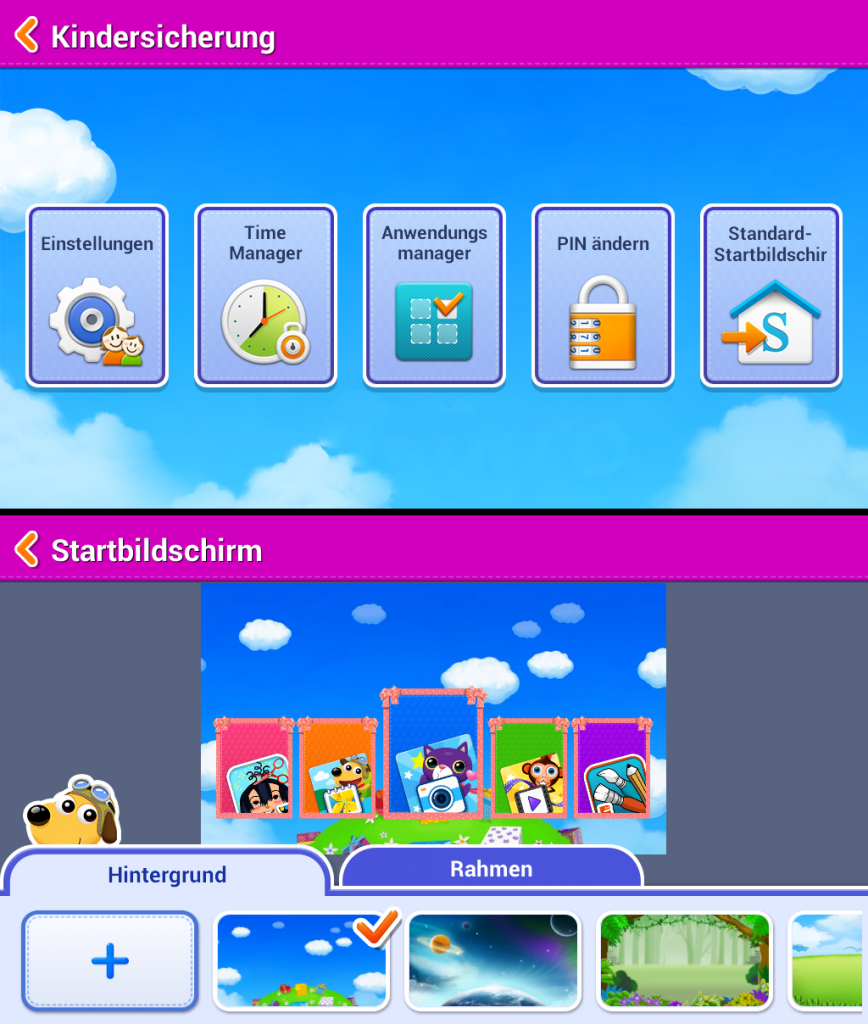 Einstellungsmöglichkeiten des Galaxy Tab 3 Kids