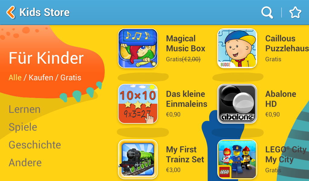Im Kidsstore finden Kind2er nur Spiele die auch für ihr alter geeignet sind