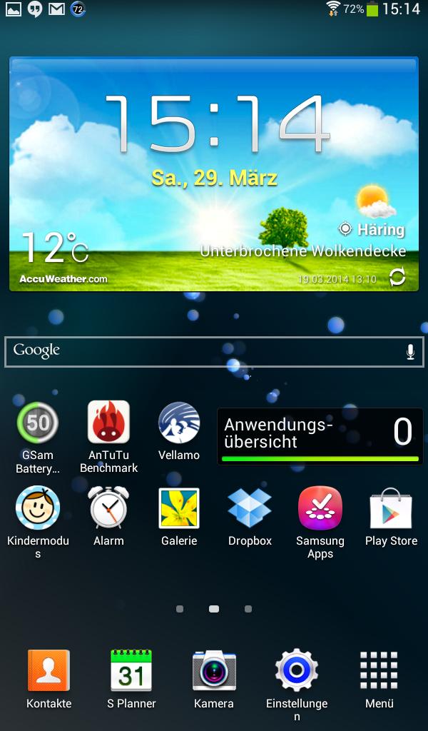 Elternoberfläche des Samsung Galaxy Tab 3 Kids