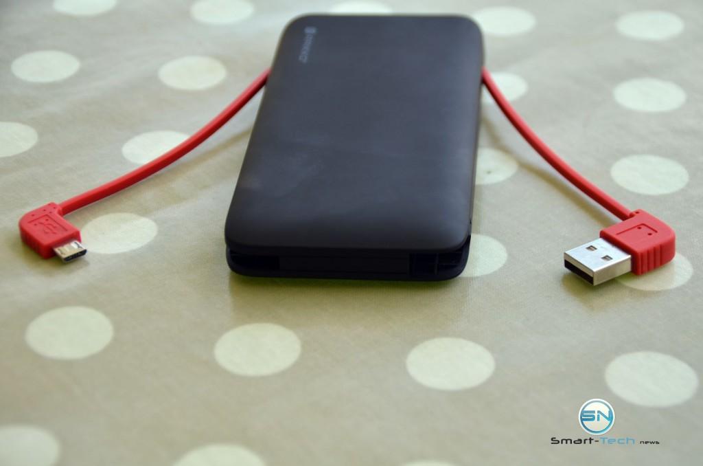 integriertes USB und microUSB Kabel - Raikko Accupack 6000