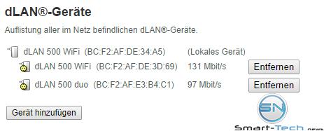 Geschwindigkeiten der DLAN Stationen