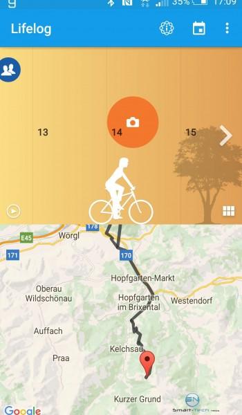 GPS Aufzeichnung biken - Sony SmartBand 2 - SmartTechNews