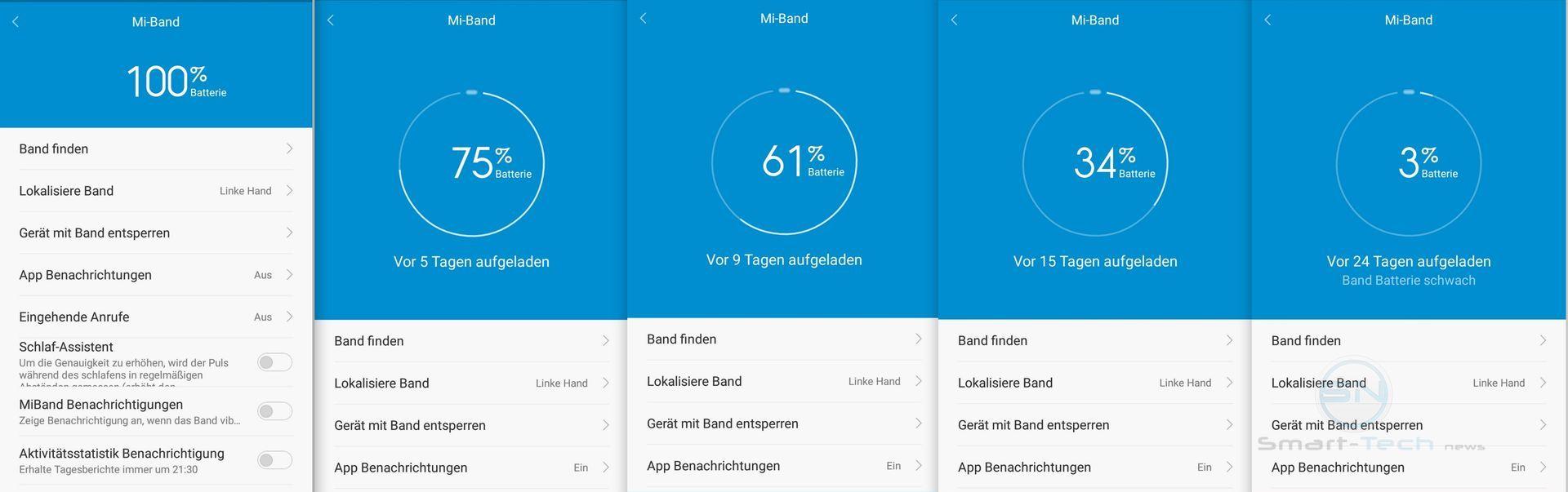Akku Standby - Xiaomi MiBand 1s - SmartTechNews