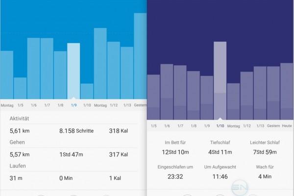 Aktivitäts und Schlafübersicht Schlafprodokoll - Xiaomi MiBand 1s - SmartTechNews
