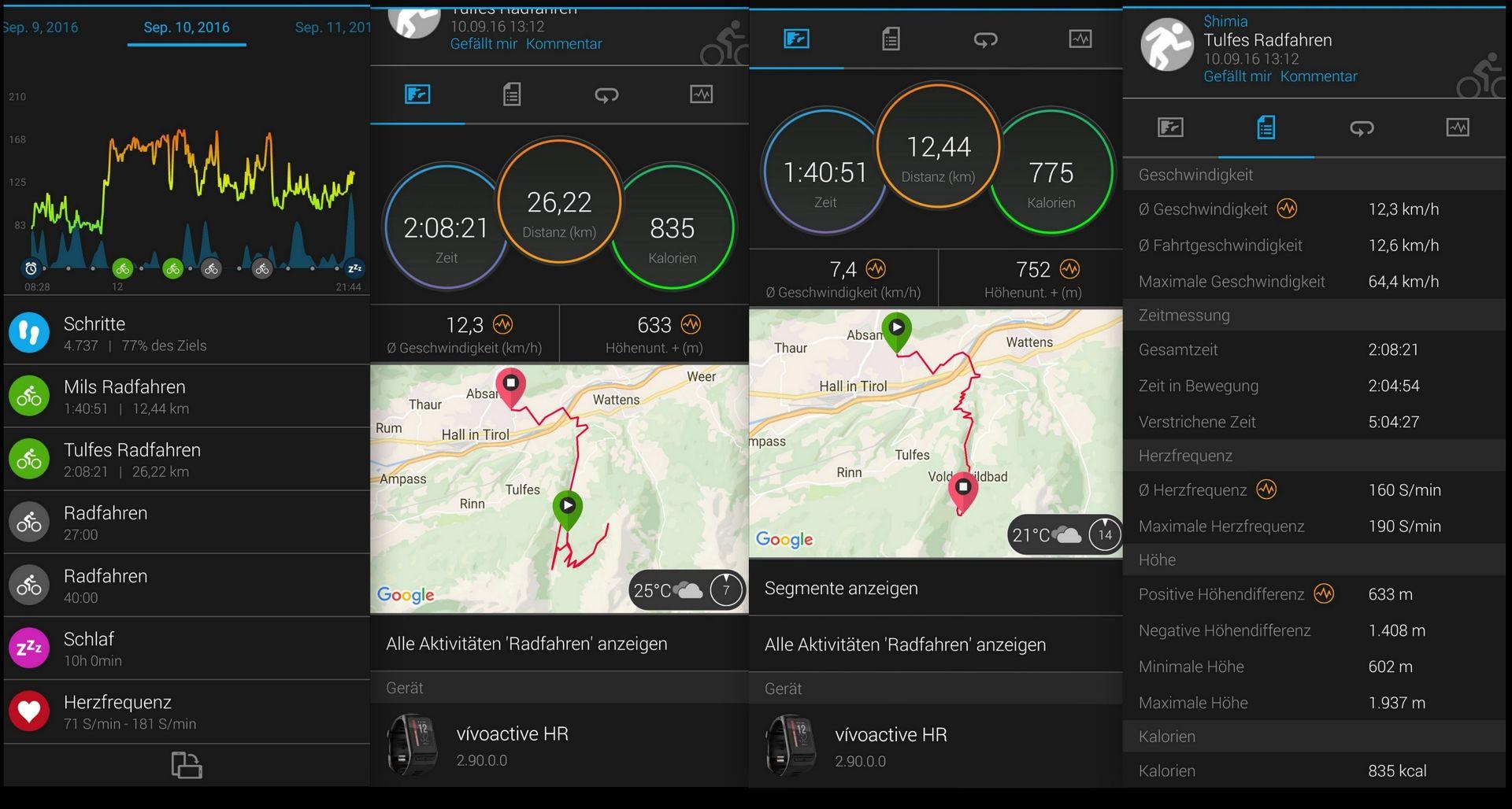 Übersicht Conncect App - Garmin VivoActive HR