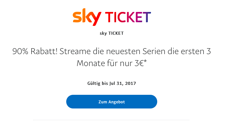 PayPal and Sky Aktion Juli 2017
