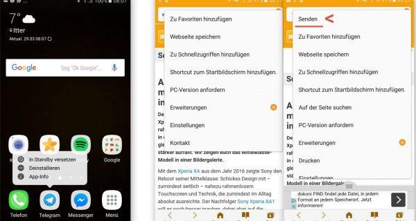 App Kontrolle - Teilen im Browser - Samsung A5 - SmartTechNews