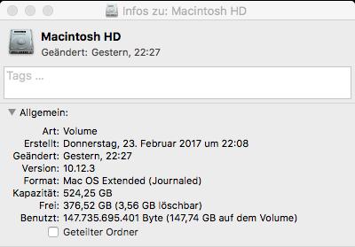 neue 525GB SSD - benutzt 150GB