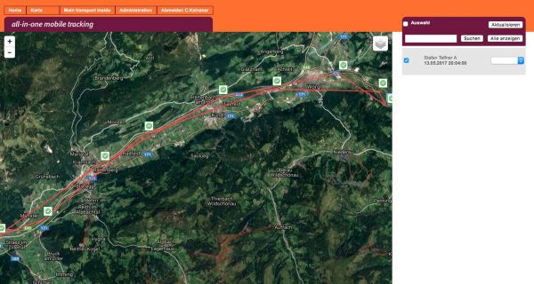 Routen Aufzeichnung - pe-sos Tracking