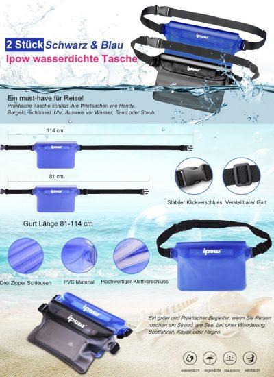 ipow wasserdichter Beutel Tasche Smartphone eReader Logbuch iPad