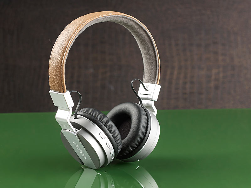 Auvisio Bluetooth Headset- Faltbarer On-Ear-Kopfhörer mp3 Fm Radio