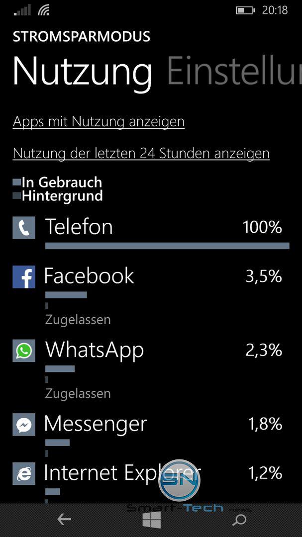 Nokia Lumia 735 - SmartTechNews - Akkuverbrauch