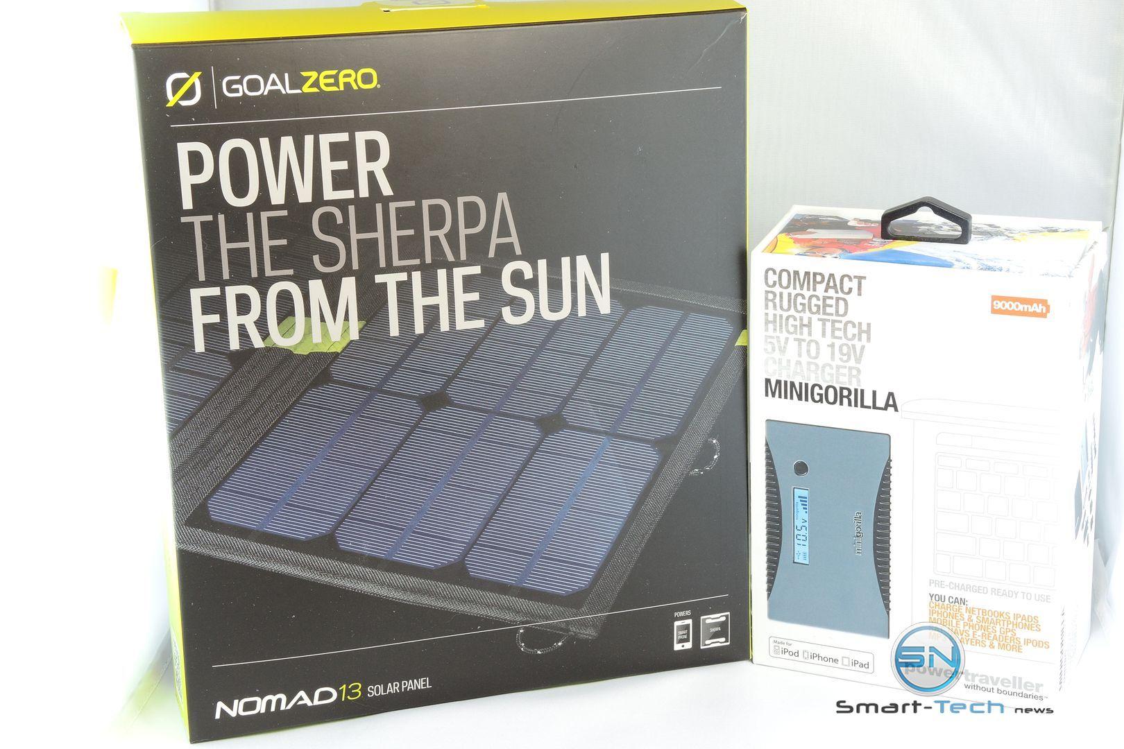 Solarbag Goalzero Nomad 13 Solarpanel Powertraveller 9000mAh Minigorilla Powerbank