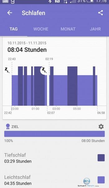 Schlafprotokoll Tag - Sony SmartBand 2 - SmartTechNews