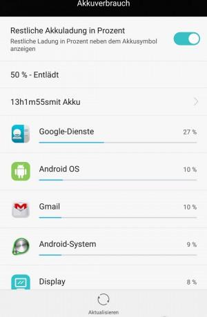Akku 50 Prozent 14 Stunden - Huawei P8 - SmartTechNews