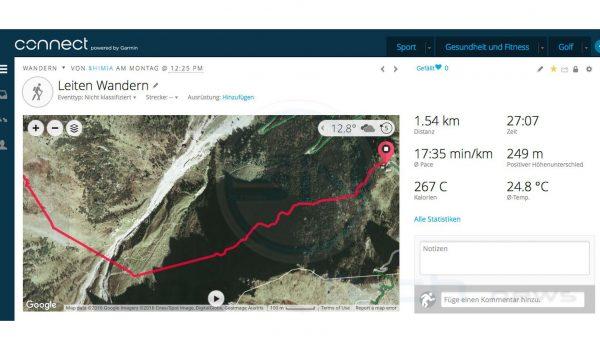 Detail Ausschnitt GPS Track - Garmin Fenix 3 HR Saphir - SmartTechNews