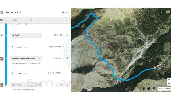 Detail Ausschnitt GPS Track - Google Maps Zeitachse - SmartTechNews