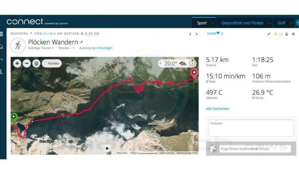 Plöcken Abstieg laut Garmin Fenix 3 HR Saphir Tracking - SmartTechNews