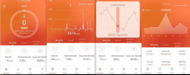 App Schritte Strecke Auswertung NewGen FBT55 HR SmartBand