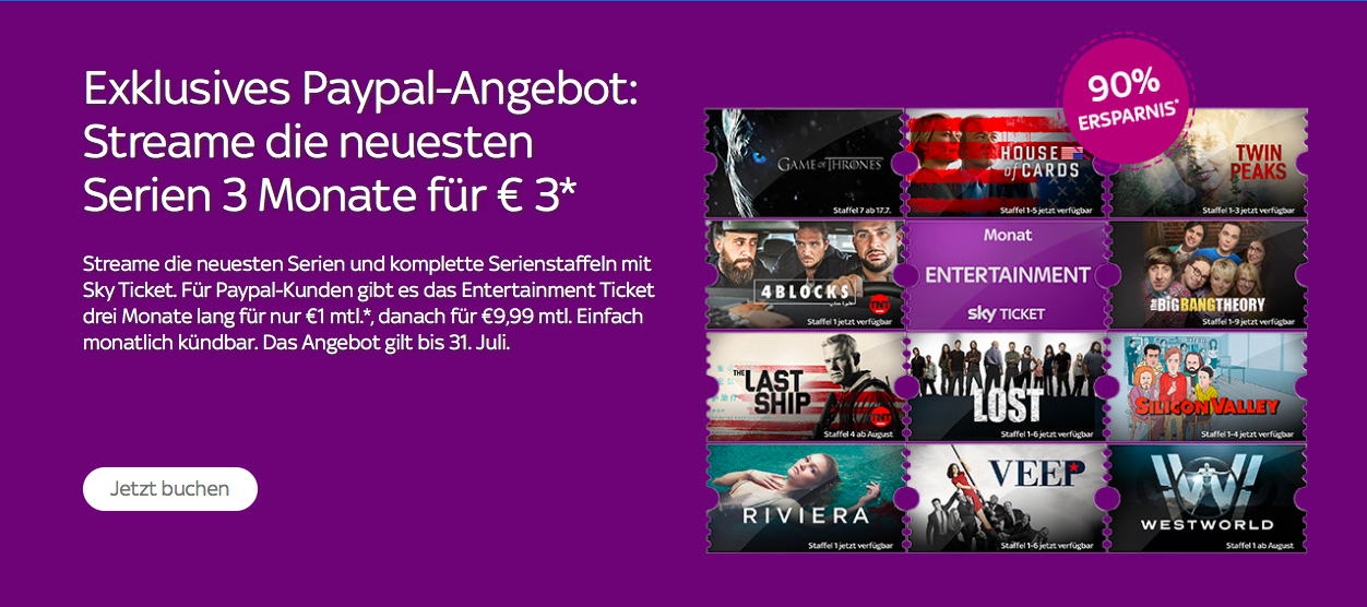 Sky Ticket 3 Euro für 3 Monate - Entertainment - PayPal