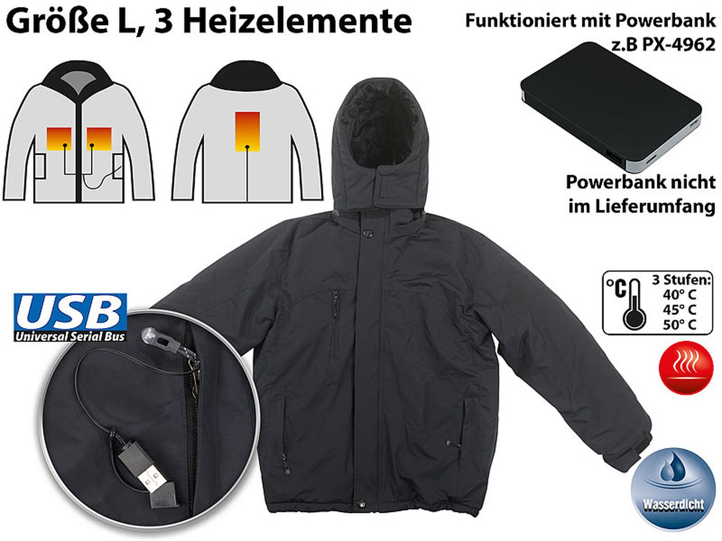 beheizbare urban Outdoor- Fleece-Jacke