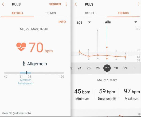mobile 1 Aufzeichnung Puls - Samsung Gear S3 - SmartTechNews