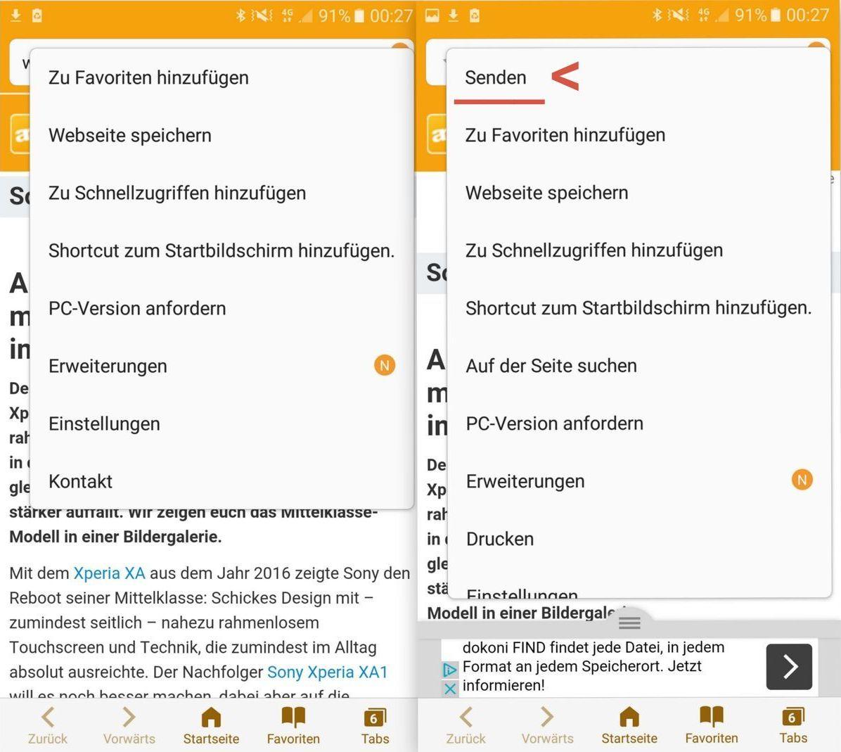 mobile 2 - App Kontrolle - Teilen im Browser - Samsung A5 - SmartTechNews Kopie 2
