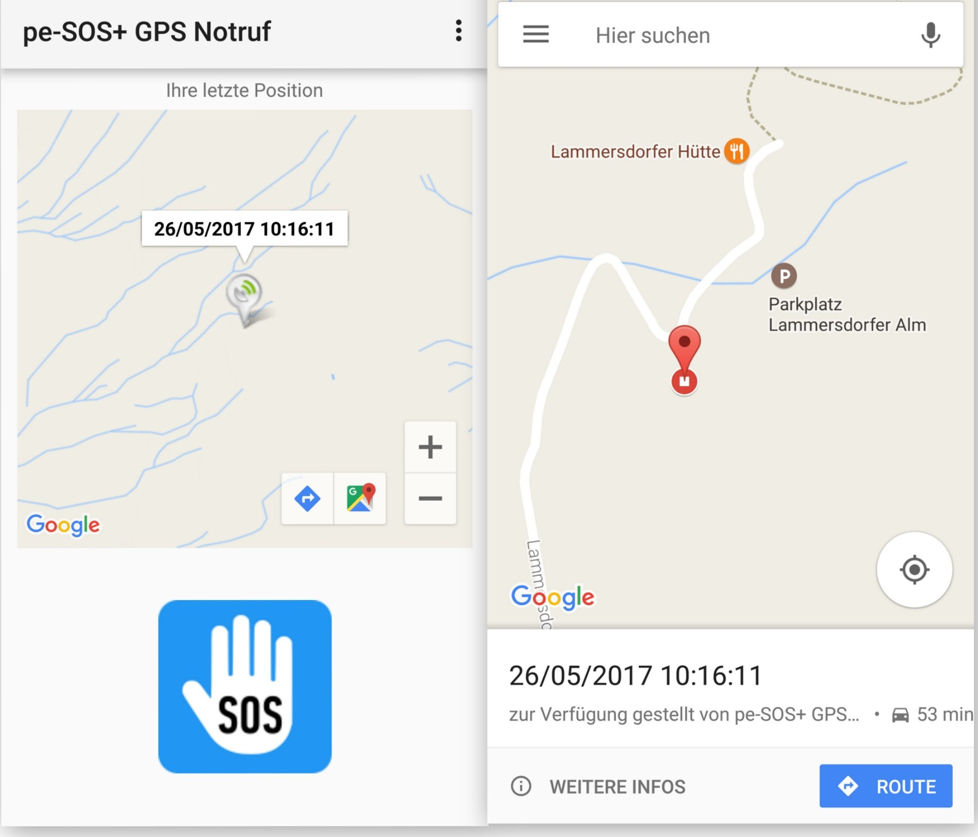 Google Maps - pe-SOS Tracking - SmartTechNews